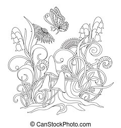 flowers, stump with roots and butterfly - Hand drawn cartoon...