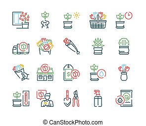 Flowers symbols color linear vector icon set
