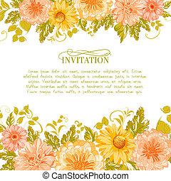 flowers., tarjeta, invitación