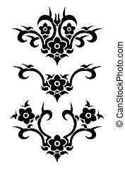 Flowers tribal vector tattoo set