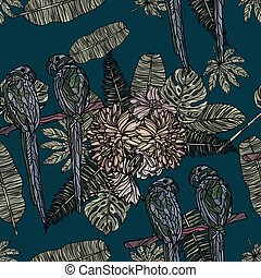 Flowers, tropical leaves and parrots seamless pattern.