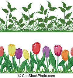 Flowers tulips and grass, set seamless