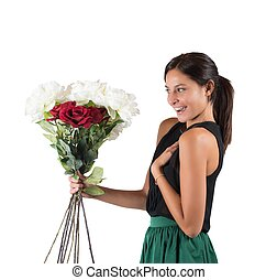 Flowers unexpected - Girl receives a gift of flowers ...