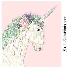 flowers., unicornio, lindo