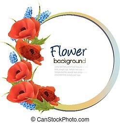 flowers., vakantie, achtergrond, vector., rood