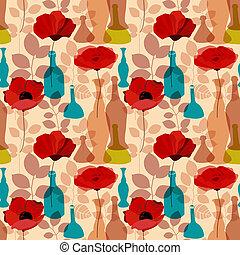 Flowers, vases and bottles seamless pattern vector