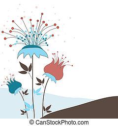 flowers., vecteur, fond, illustration