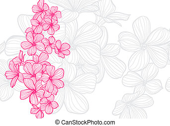 Flowers - vector bright floral background on light ...