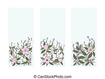 Flowers vector composition in doodle style.