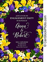 Flowers vector engagement party invitation card