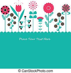 flowers., vector, ilustración