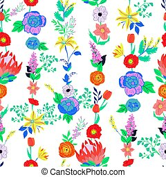 flowers., vector, pattern., seamless, retro