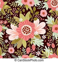 flowers., vector, seamless, illustratie