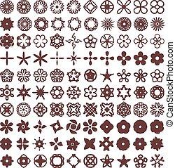 Flowers vector shapes set 1