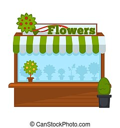 Flowers vendor booth or flower market wooden stand vector flat design isolated icon