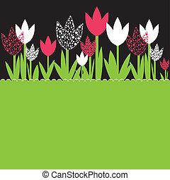 flowers., vettore, fondo, illustrazione