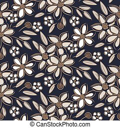 Flowers vintage handdrawn brown taupe colors seamless vector pattern. Retro flower plants fabric textile print gray blue background.
