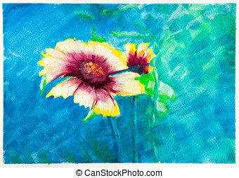 Flowers - watercolor blue painting - Zinnia - Hand painted...
