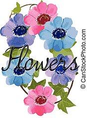 flowers, watercolor illustration
