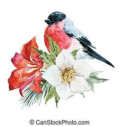 Flowers with bird