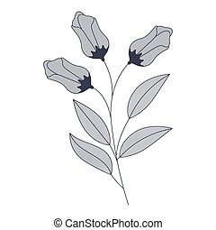 flowers with branches and leaves isolated icon
