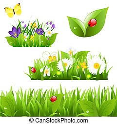 Flowers With Grass Butterfly And Ladybug, Isolated On White...