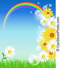 Flowers with green grass and rainbow - Meadow flowers,...