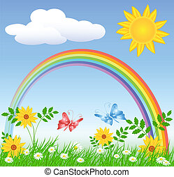 Flowers with green grass and rainbow - Meadow flowers, ...