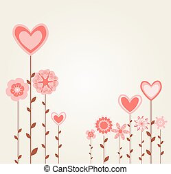 flowers with heart shapes. abstract retro love greeting card. vector