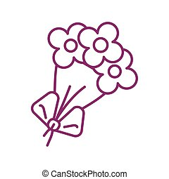 flowers with leafs, line style icon