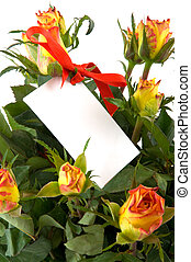flowers with notice card
