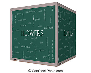 Flowers Word Cloud Concept on a 3D cube Blackboard