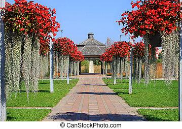 Flowery alley to gazebo