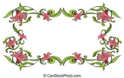 Flowery border - Illustration of a flowery border on a white...