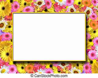 Flowery Frame - Festive floral frame suited for message or...