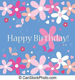 flowery happy birthday card