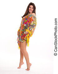 Flowery tunic - Isolated portrait of a brunette in a...