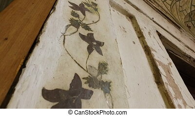 Flowery Vine Painted on Wall - Handheld, tilting, exterior,...
