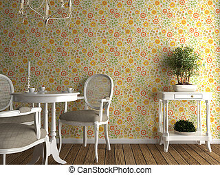 flowery wallpaper interior - home interior with flowery...