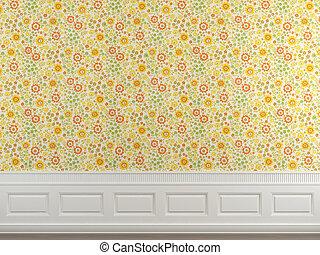 flowery wallpaper wall - Interior scene of flowery wallpaper...