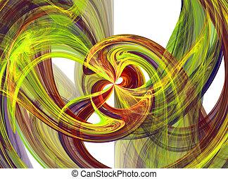 Flowing yellow and orange liquid burst