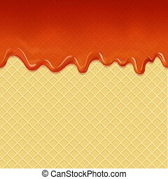 Flowing caramel cream and waffle background