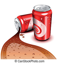 Flowing Cola can - Opened and closed red can with Cola...