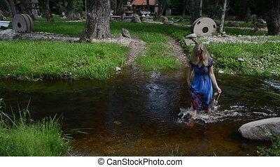 flowing creek  wade girl