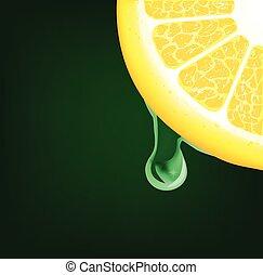 Flowing down drop on a lemon segment. Vector illustration on black background