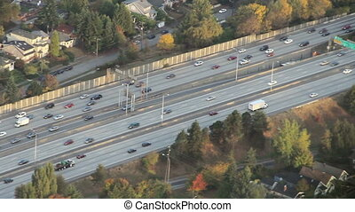 Flowing Interstate Traffic Aerial - Airplane/helicopter view...