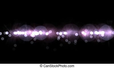 flowing line of light dots & particles, circle go down, ...