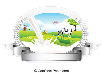 Flowing Milk with grazing Cow - illustration of badge of...