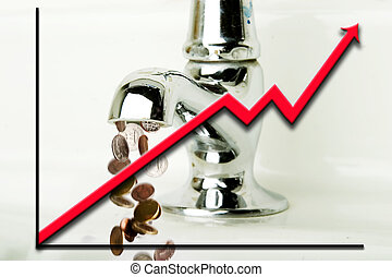 Flowing Money - Money flowing out of a retro bathroom tap ...