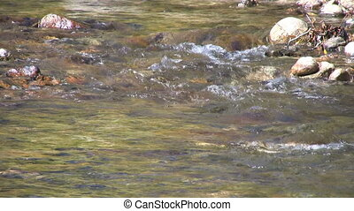 Flowing Mountain Stream - a mountain stream flows over rocks